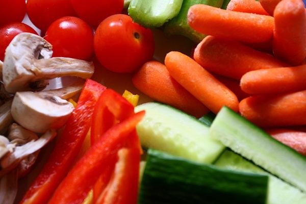 légumes frais couppés